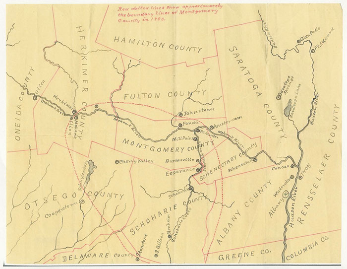 Montgomery County NY 1790 Boundaries Map Genealogy